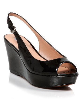 Black Patent Estuary Peep-Toe Wedge