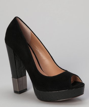 Black Suede Divine Peep-Toe Pump
