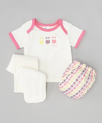 Pink Floral Love Lap Neck Tee & Diaper Set