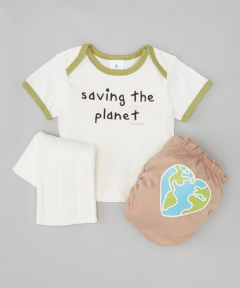 Green 'Saving the Planet' Lap Neck Tee & Diaper Set