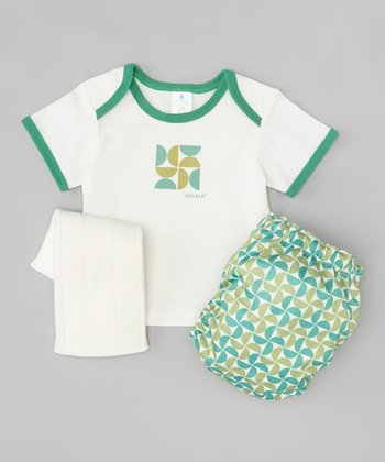 Green & Blue Pinwheel Lap Neck Tee & Diaper Set