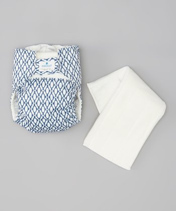 White & Navy Tile Cloth Diaper
