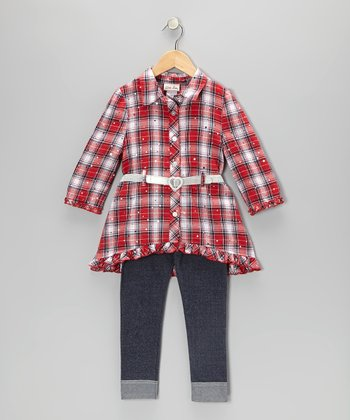 Red Plaid Button-Up Tunic & Leggings - Toddler & Girls
