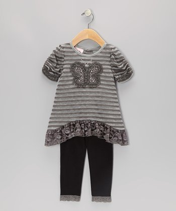 Gray Stripe Butterfly Ruffle Tunic & Leggings - Toddler