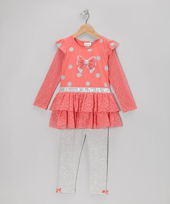 Coral Polka Dot Ruffle Tunic & Leggings - Girls