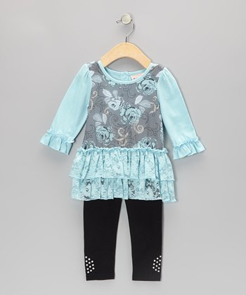 Light Blue Ruffle Tunic & Leggings - Toddler & Girls