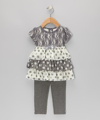 Gray & White Lace Polka Dot Tiered Tunic & Leggings - Infant