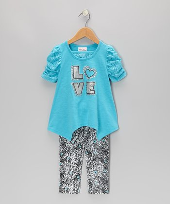 Blue 'Love' Sidetail Tunic & Leggings - Infant, Toddler & Girls