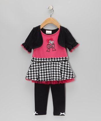 Pink Bow Layered Tunic & Leggings - Toddler & Girls