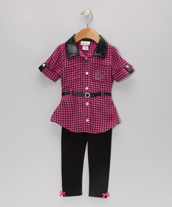 Pink Houndstooth Tunic & Leggings - Infant, Toddler & Girls
