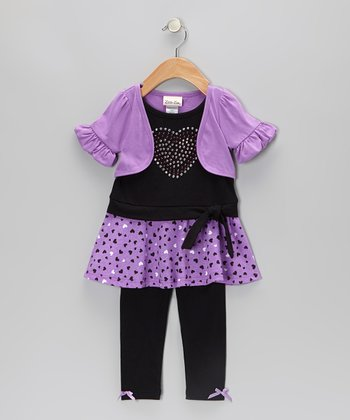 Purple Heart Layered Tunic & Leggings - Infant, Toddler & Girls