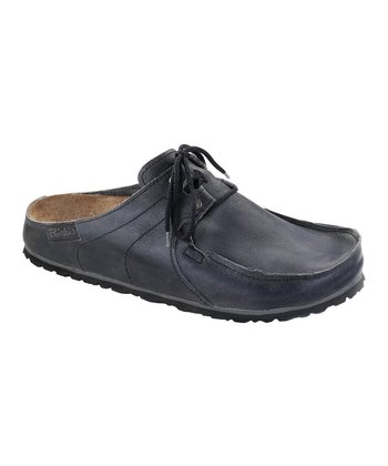 Rustic Dark Gray Leather Super Skipper Mule - Women & Men
