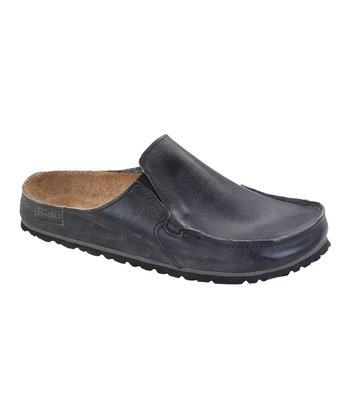 Rustic Dark Gray Leather Classic Skipper Mule - Women & Men