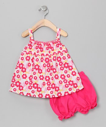 Pink & Yellow Flower Swing Dress & Bloomers - Infant