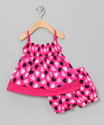 Pink & Black Heart Swing Dress & Bloomers - Infant