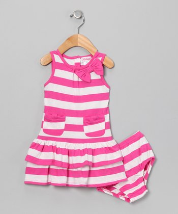 Pink Stripe Dress & Diaper Cover - Infant