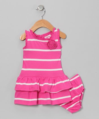 Hot Pink & White Stripe Dress & Diaper Cover - Infant