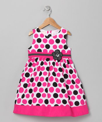 Pink & Black Polka Dot Flower Dress - Girls