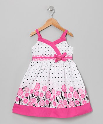 Pink Polka Dot Floral Surplice Dress - Toddler & Girls