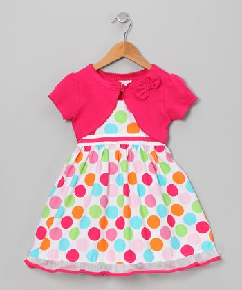 Rainbow Polka Dot Dress & Shrug - Toddler