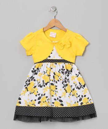 Yellow & Black Rose Dress & Shrug - Infant & Girls