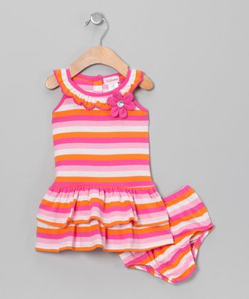 Pink & Orange Stripe Dress & Diaper Cover - Infant