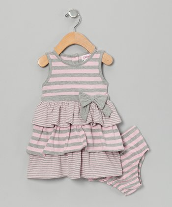 Pink & Gray Stripe Bodysuit Dress - Infant