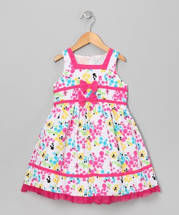 White & Pink Dot Cluster Dress - Infant, Toddler & Girls