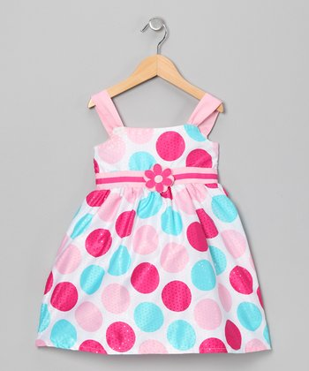 Pink & Aqua Polka Dot Flower Dress - Infant, Toddler & Girls