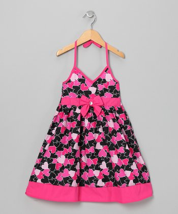 Pink & Black Heart Halter Dress - Toddler & Girls