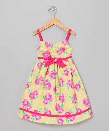 Pink & Yellow Rose Rhinestone Dress - Toddler & Girls