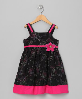 Black & Pink Hibiscus Dress - Girls