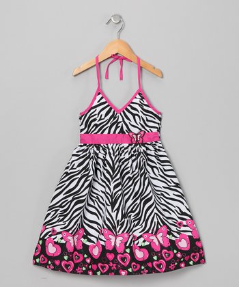 Pink & Black Zebra Halter Dress - Infant & Girls