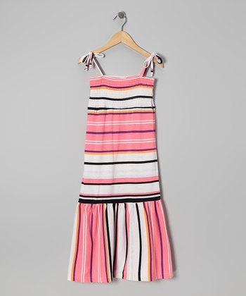 Pink & White Stripe Convertible Dress - Girls