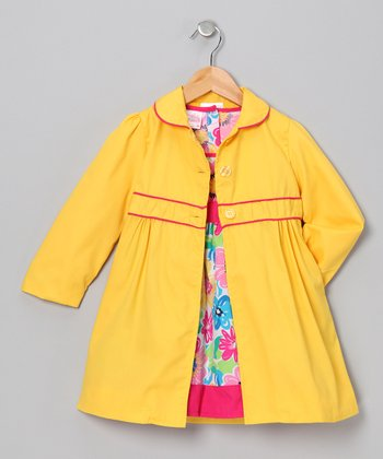Pink & Yellow Floral Dress & Jacket - Toddler