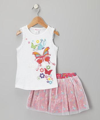 White Butterfly Tank & Pink Tulle Skirt - Toddler