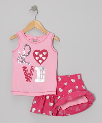 Pink 'Love' Tank & Hot Pink Heart Skirt - Infant