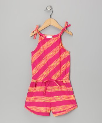 Pink & Yellow Stripe Romper - Infant & Girls