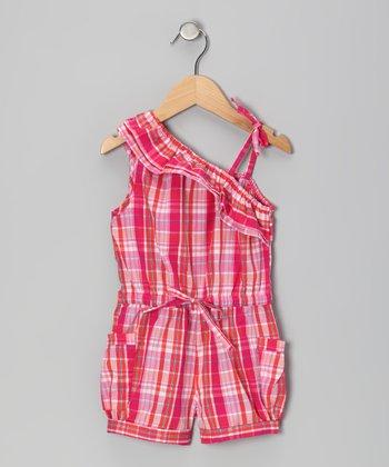 Pink Plaid Asymmetrical Ruffle Romper - Girls