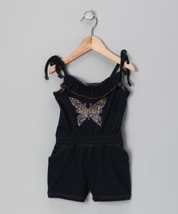 Denim Butterfly Ruffle Romper - Infant & Toddler
