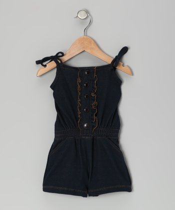 Denim Ruffle Button-Up Romper - Infant