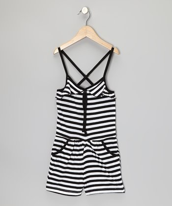 Black & White Stripe Romper - Girls