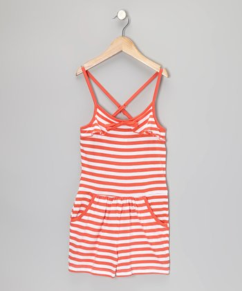 Mango & White Stripe Romper - Girls