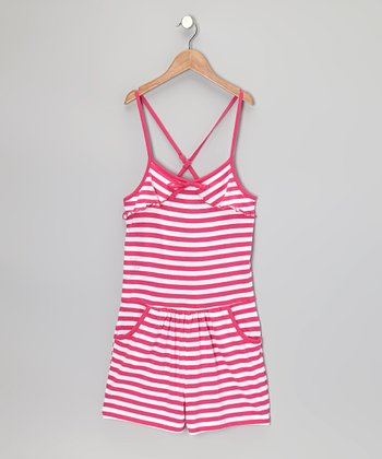 Pink & White Stripe Romper - Girls