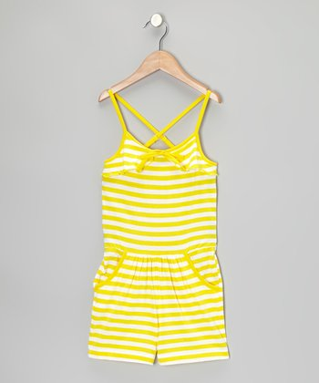 Yellow & White Stripe Romper - Girls