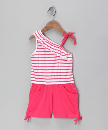 Coral Bing Stripe Asymmetrical Romper - Infant & Girls