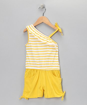 Yellow Stripe Asymmetrical Romper - Infant & Girls