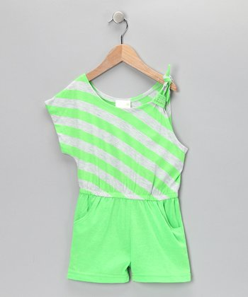 Lime Ricky Stripe One-Sleeve Romper - Infant, Toddler & Girls