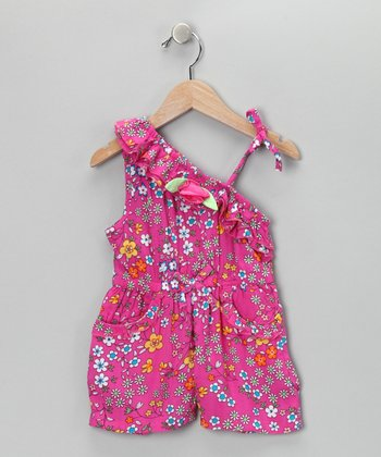 Pink Floral Asymmetrical Romper - Infant, Toddler & Girls