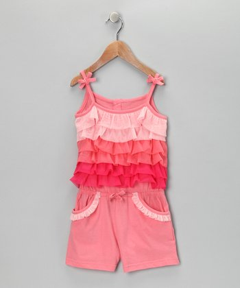 Peach Tiered Romper - Infant & Girls